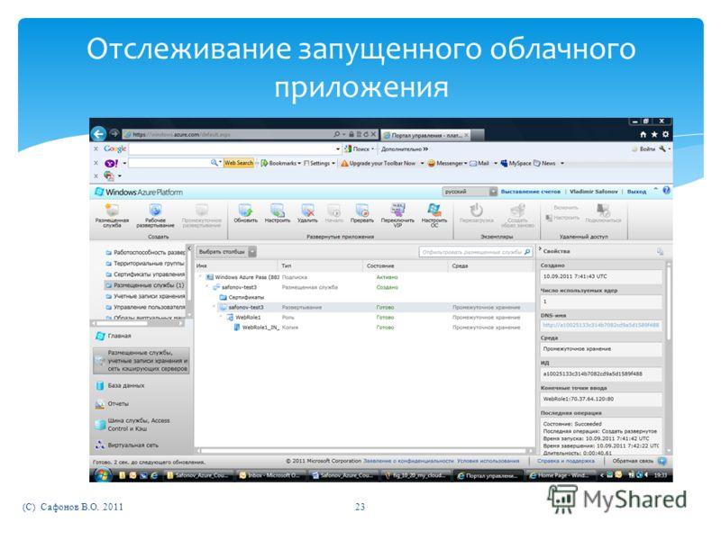 (C) Сафонов В.О. 201123 Отслеживание запущенного облачного приложения
