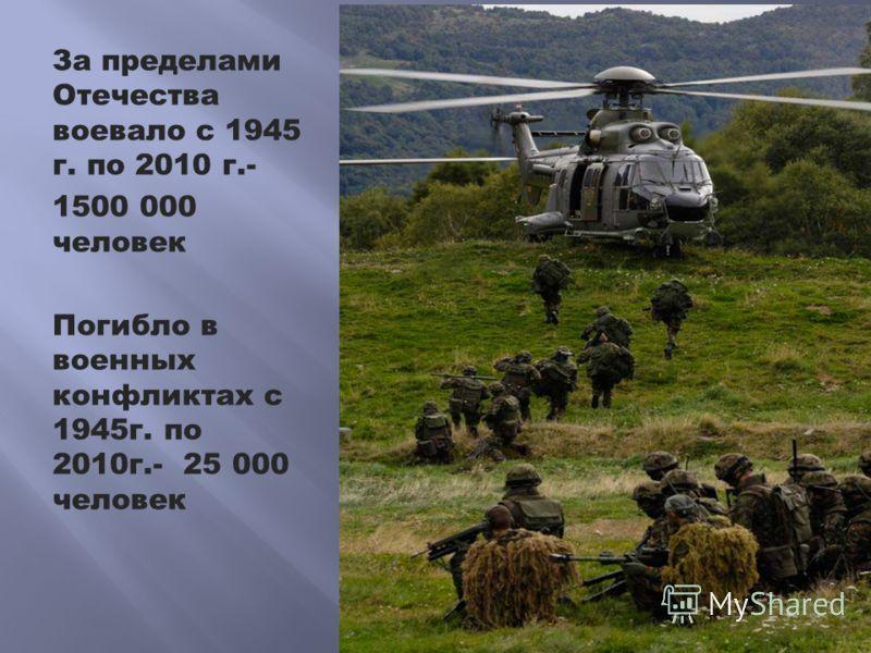 За пределами Отечества воевало с 1945 г. по 2010 г.- 1500 000 человек Погибло в военных конфликтах с 1945г. по 2010г.- 25 000 человек