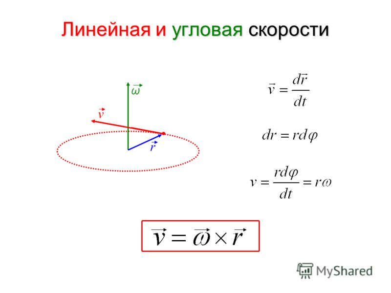 Линейная и угловая скорости ω r v