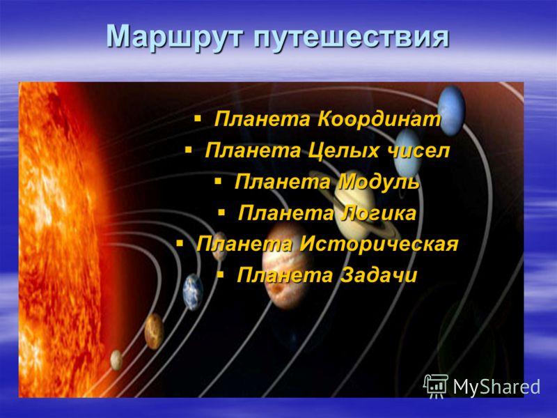 Маршрут путешествия Планета Координат Планета Координат Планета Целых чисел Планета Целых чисел Планета Модуль Планета Модуль Планета Логика Планета Логика Планета Историческая Планета Историческая Планета Задачи Планета Задачи