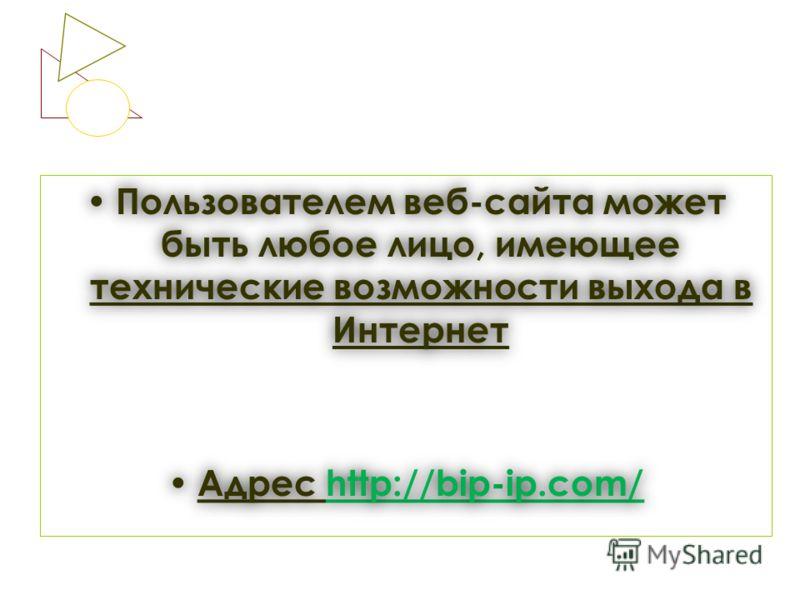 Пользователем веб-сайта может быть любое лицо, имеющее технические возможности выхода в Интернет Пользователем веб-сайта может быть любое лицо, имеющее технические возможности выхода в Интернет Адрес http://bip-ip.com/ Адрес http://bip-ip.com/