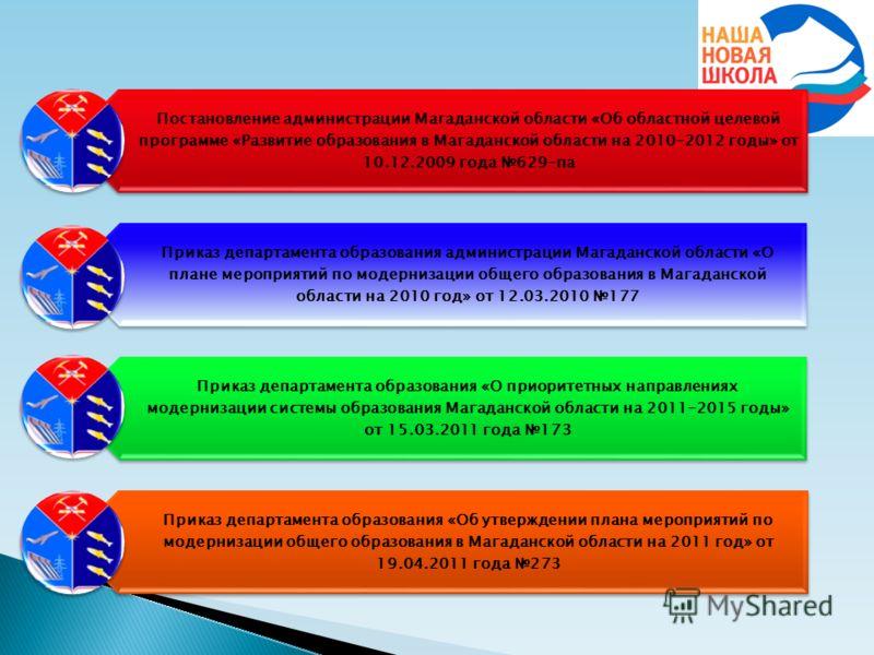 Постановление администрации Магаданской области «Об областной целевой программе «Развитие образования в Магаданской области на 2010-2012 годы» от 10.12.2009 года 629-па Приказ департамента образования администрации Магаданской области «О плане меропр