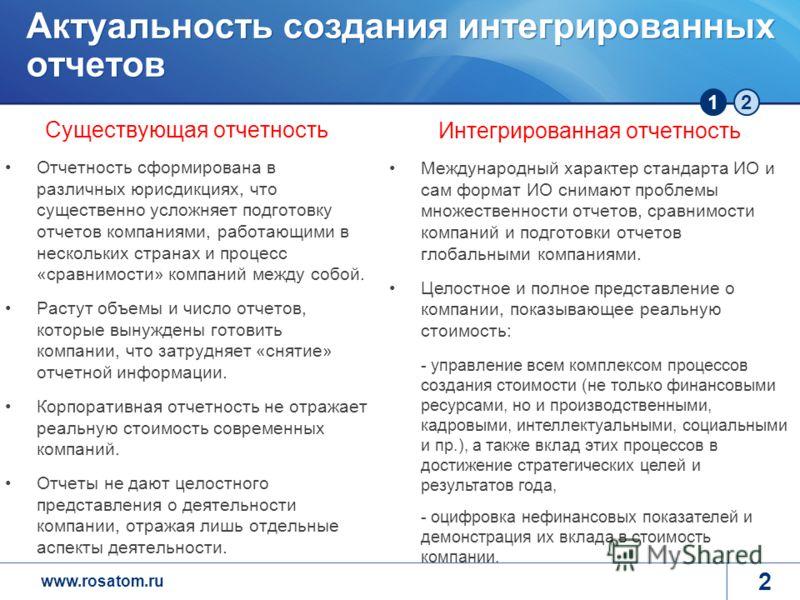 www.rosatom.ru 12 Актуальность создания интегрированных отчетов Существующая отчетность Отчетность сформирована в различных юрисдикциях, что существенно усложняет подготовку отчетов компаниями, работающими в нескольких странах и процесс «сравнимости»