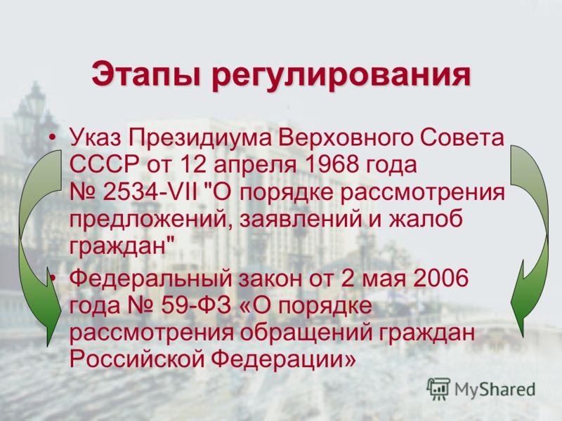Этапы регулирования Указ Президиума Верховного Совета СССР от 12 апреля 1968 года 2534-VII