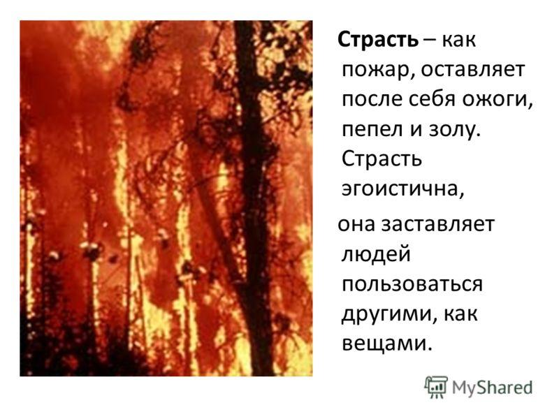 Страсть – как пожар, оставляет после себя ожоги, пепел и золу. Страсть эгоистична, она заставляет людей пользоваться другими, как вещами.