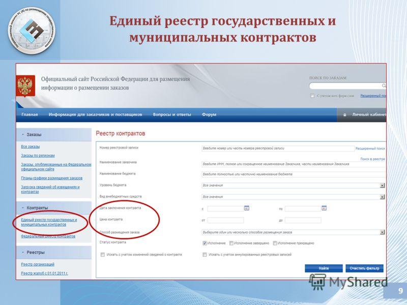 9 Единый реестр государственных и муниципальных контрактов