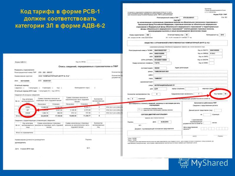 Код тарифа в форме РСВ-1 должен соответствовать категории ЗЛ в форме АДВ-6-2