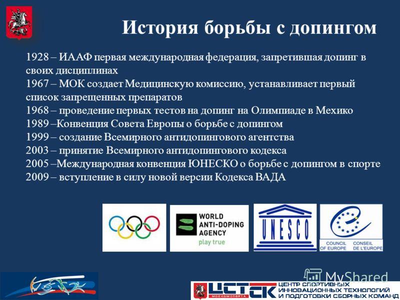 1928 – ИААФ первая международная федерация, запретившая допинг в своих дисциплинах 1967 – МОК создает Медицинскую комиссию, устанавливает первый список запрещенных препаратов 1968 – проведение первых тестов на допинг на Олимпиаде в Мехико 1989 –Конве