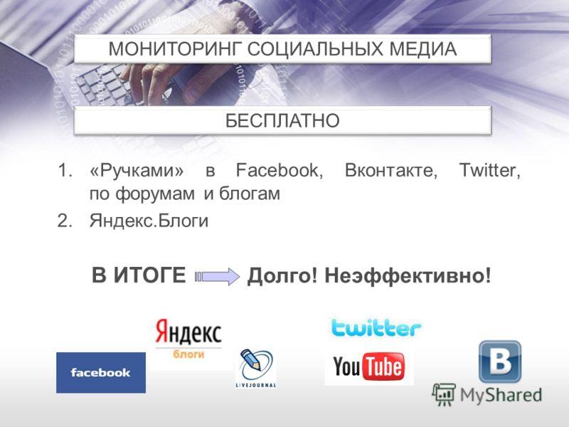 1.«Ручками» в Facebook, Вконтакте, Twitter, по форумам и блогам 2.Яндекс.Блоги МОНИТОРИНГ СОЦИАЛЬНЫХ МЕДИА БЕСПЛАТНО В ИТОГЕ Долго! Неэффективно!