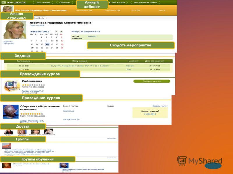Личная страница Личный кабинет Друзья Прохождение курсов Задания Проведение курсов Группы обучения Группы Создать мероприятие