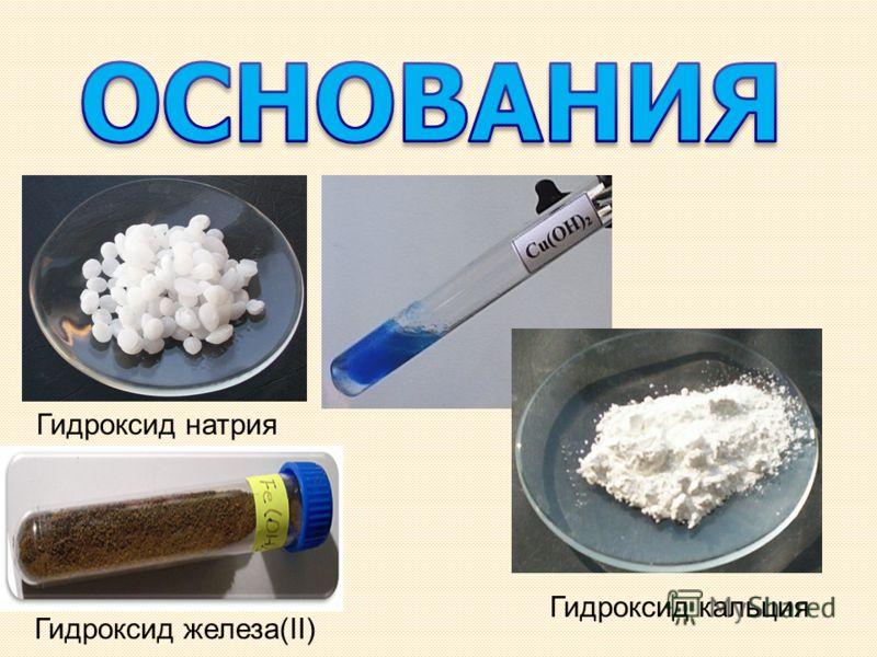 Гидроксид натрия Гидроксид железа(II) Гидроксид кальция