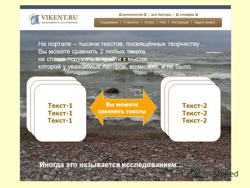 Я предлагаю Вам работать на портале Vikent.ru не спеша, Вдумчиво … Текст-1
