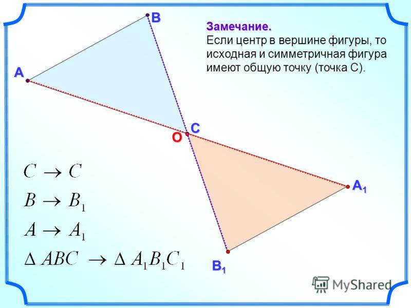 А В Замечание. Если центр в вершине фигуры, то исходная и симметричная фигура имеют общую точку (точка С). А1А1А1А1 В1В1В1В1 СО