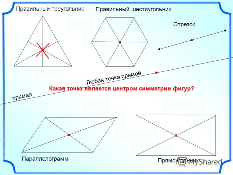 прямая Правильный треугольник Правильный шестиугольник Параллелограмм Отрезок Прямоугольник Любая точка прямой Какая точка является центром симметрии фигур?