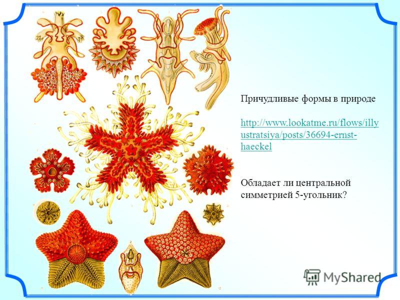 Причудливые формы в природе http://www.lookatme.ru/flows/illy ustratsiya/posts/36694-ernst- haeckel Обладает ли центральной симметрией 5-угольник?