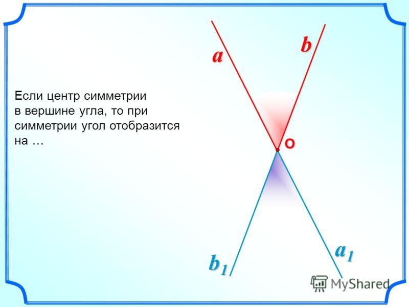 a1a1a1a1 b1b1b1b1 Если центр симметрии в вершине угла, то при симметрии угол отобразится на … a b О