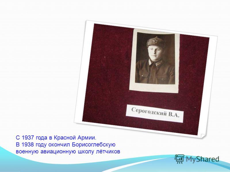 С 1937 года в Красной Армии. В 1938 году окончил Борисоглебскую военную авиационную школу лётчиков