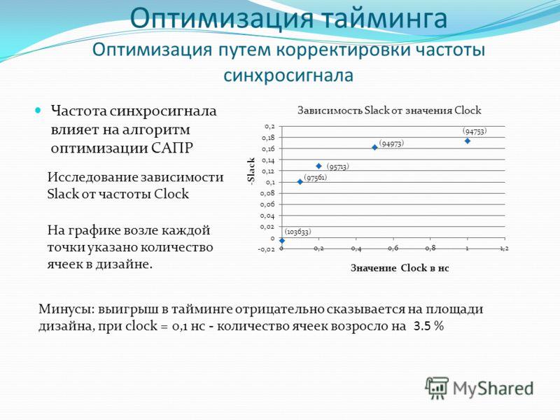 Оптимизация тайминга Оптимизация путем корректировки частоты синхросигнала Частота синхросигнала влияет на алгоритм оптимизации САПР Минусы: выигрыш в тайминге отрицательно сказывается на площади дизайна, при clock = 0,1 нс - количество ячеек возросл