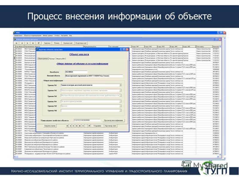Процесс внесения информации об объекте
