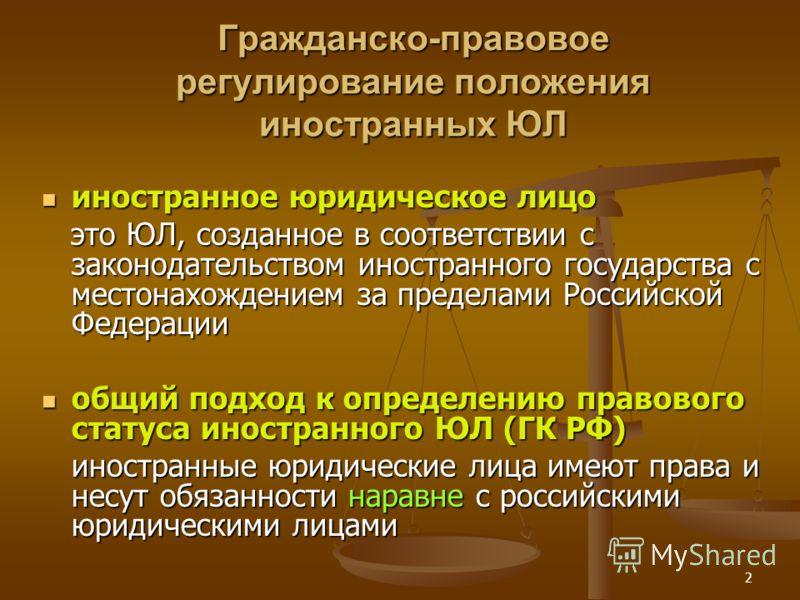 2 Гражданско-правовое регулирование положения иностранных ЮЛ иностранное юридическое лицо иностранное юридическое лицо это ЮЛ, созданное в соответствии с законодательством иностранного государства с местонахождением за пределами Российской Федерации