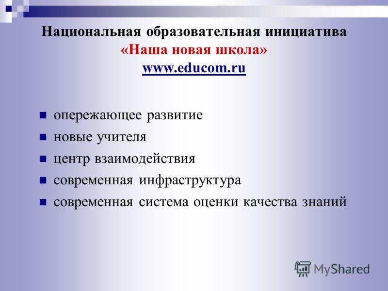 Национальная образовательная инициатива «Наша новая школа» www.educom.ru опережающее развитие новые учителя центр взаимодействия современная инфраструктура современная система оценки качества знаний