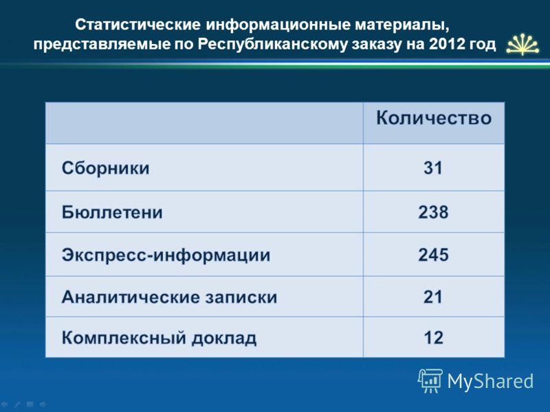 Статистические информационные материалы, представляемые по Республиканскому заказу на 2012 год