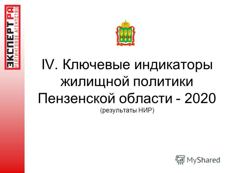 IV. Ключевые индикаторы жилищной политики Пензенской области - 2020 (результаты НИР)