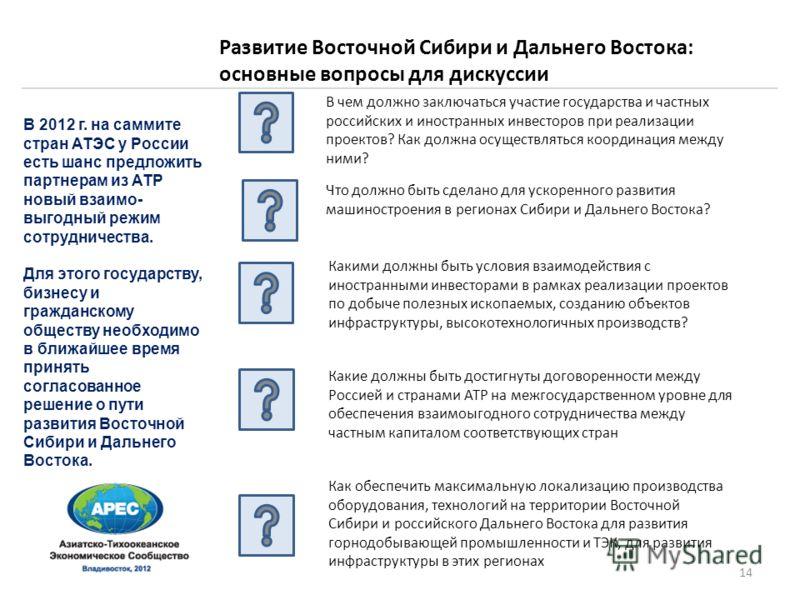 В 2012 г. на саммите стран АТЭС у России есть шанс предложить партнерам из АТР новый взаимо- выгодный режим сотрудничества. Для этого государству, бизнесу и гражданскому обществу необходимо в ближайшее время принять согласованное решение о пути разви