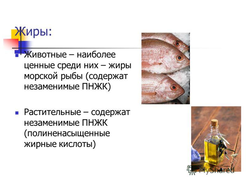 Жиры: Животные – наиболее ценные среди них – жиры морской рыбы (содержат незаменимые ПНЖК) Растительные – содержат незаменимые ПНЖК (полиненасыщенные жирные кислоты)