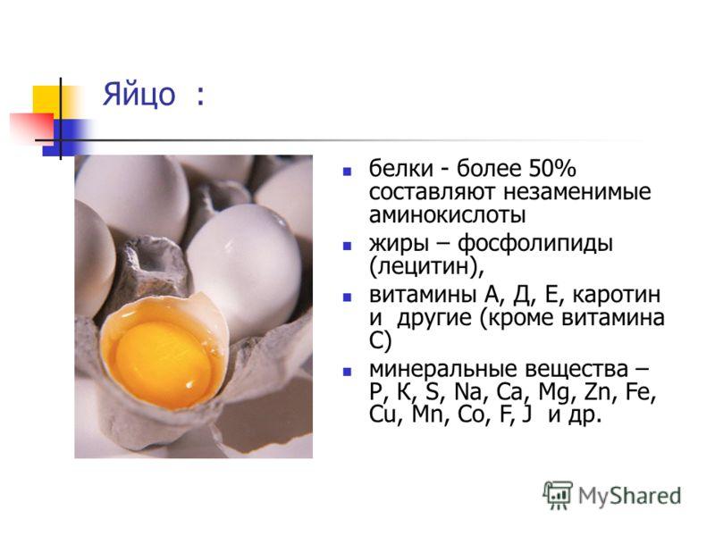Яйцо : белки - более 50% составляют незаменимые аминокислоты жиры – фосфолипиды (лецитин), витамины А, Д, Е, каротин и другие (кроме витамина С) минеральные вещества – Р, К, S, Na, Ca, Mg, Zn, Fe, Cu, Mn, Co, F, J и др.
