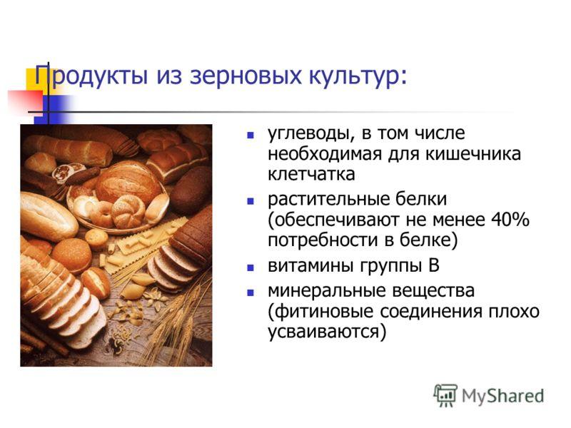 Продукты из зерновых культур: углеводы, в том числе необходимая для кишечника клетчатка растительные белки (обеспечивают не менее 40% потребности в белке) витамины группы В минеральные вещества (фитиновые соединения плохо усваиваются)