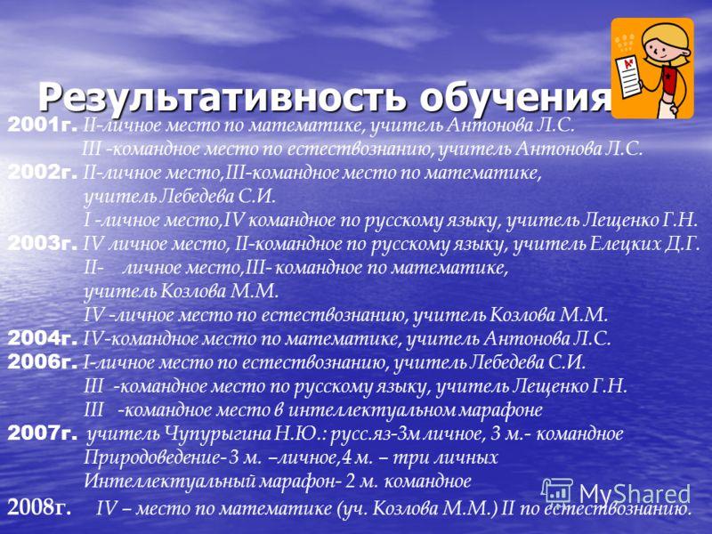 Результативность обучения 2001г. II-личное место по математике, учитель Антонова Л.С. III -командное место по естествознанию, учитель Антонова Л.С. 2002г. II-личное место,III-командное место по математике, учитель Лебедева С.И. I -личное место,IV ком