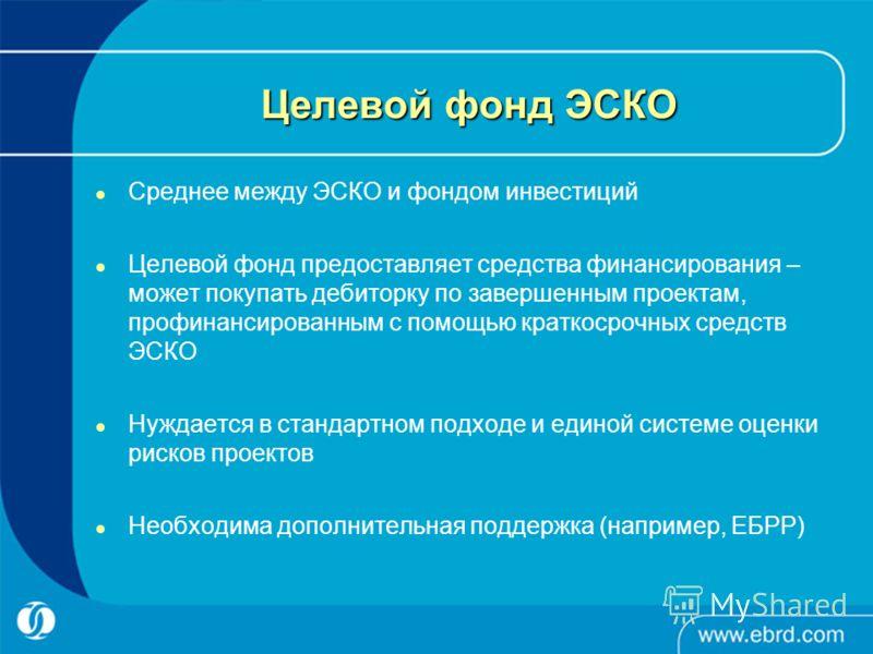 Целевой фонд ЭСКО Среднее между ЭСКО и фондом инвестиций Целевой фонд предоставляет средства финансирования – может покупать дебиторку по завершенным проектам, профинансированным с помощью краткосрочных средств ЭСКО Нуждается в стандартном подходе и