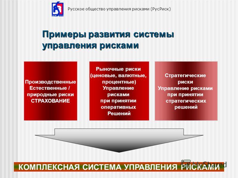 Русское общество управления рисками (РусРиск) Примеры развития системы управления рисками Производственные Естественные / природные риски СТРАХОВАНИЕ Рыночные риски (ценовые, валютные, процентные) Управление рисками при принятии оперативных Решений С