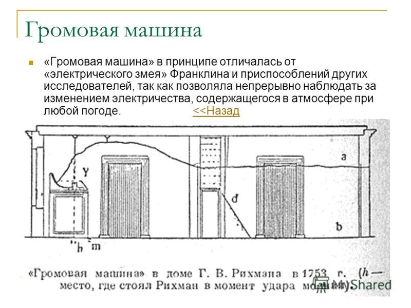 Громовая машина «Громовая машина» в принципе отличалась от «электрического змея» Франклина и приспособлений других исследователей, так как позволяла непрерывно наблюдать за изменением электричества, содержащегося в атмосфере при любой погоде.