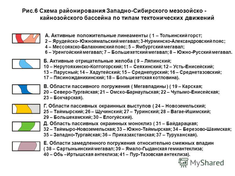 Рис.6 Схема районирования Западно-Сибирского мезозойско - кайнозойского бассейна по типам тектонических движений А. Активные положительные линеаменты ( 1 – Тольинский горст; 2 – Ярудейско- Южноямальский мегавал; 3-Нурминско-Александровский пояс; 4 –