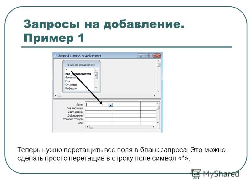 Запросы на добавление. Пример 1 Теперь нужно перетащить все поля в бланк запроса. Это можно сделать просто перетащив в строку поле символ «*».
