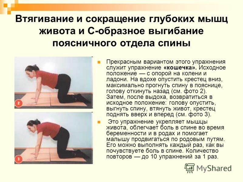 Втягивание и сокращение глубоких мышц живота и С-образное выгибание поясничного отдела спины Прекрасным вариантом этого упражнения служит упражнение «кошечка». Исходное положение с опорой на колени и ладони. На вдохе опустить крестец вниз, максимальн