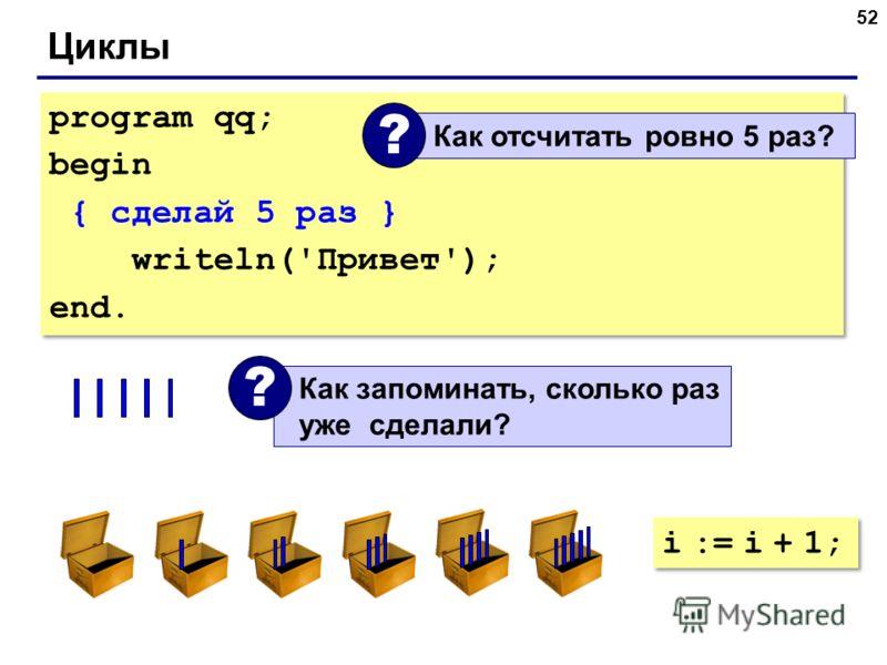 52 Циклы program qq; begin { сделай 5 раз } writeln('Привет'); end. program qq; begin { сделай 5 раз } writeln('Привет'); end. Как отсчитать ровно 5 раз? ? Как запоминать, сколько раз уже сделали? ? i := i + 1;