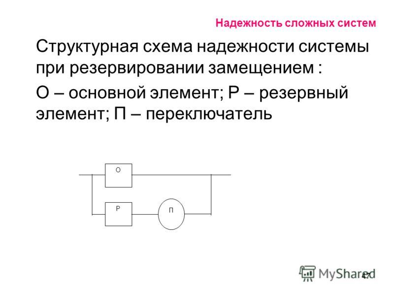 47 Надежность сложных систем Структурная схема надежности системы при резервировании замещением : О – основной элемент; Р – резервный элемент; П – переключатель О Р П