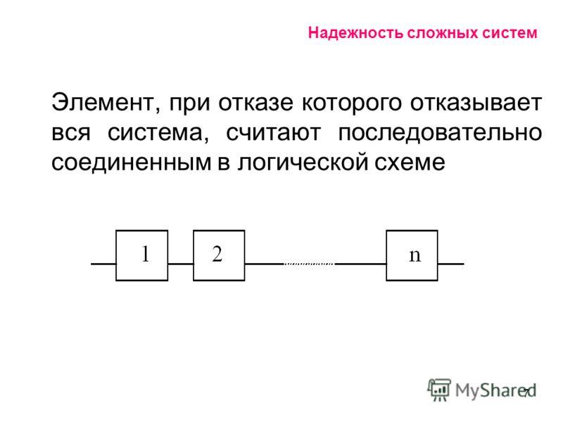 7 Надежность сложных систем Элемент, при отказе которого отказывает вся система, считают последовательно соединенным в логической схеме