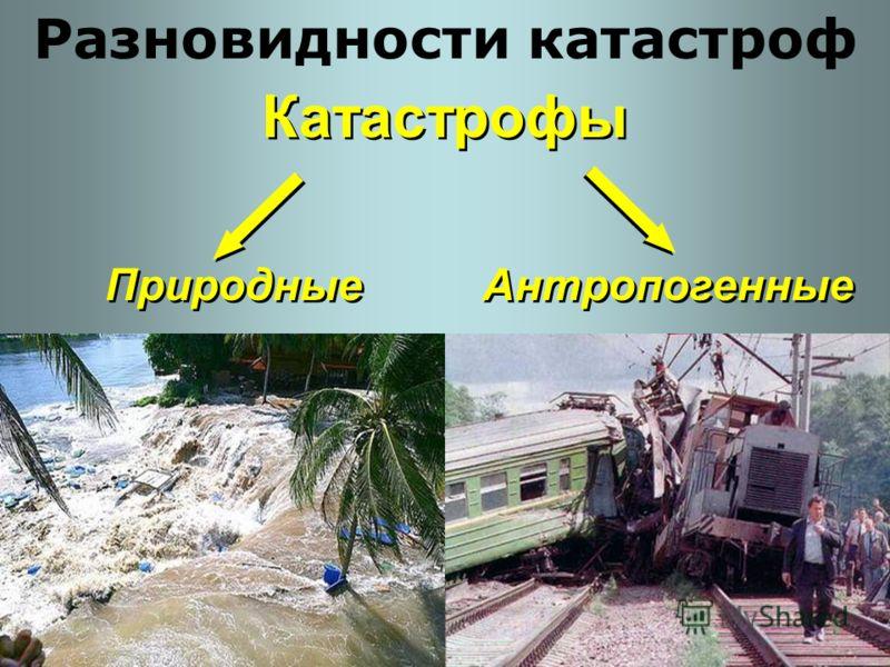 Катастрофы Разновидности катастроф Природные Антропогенные