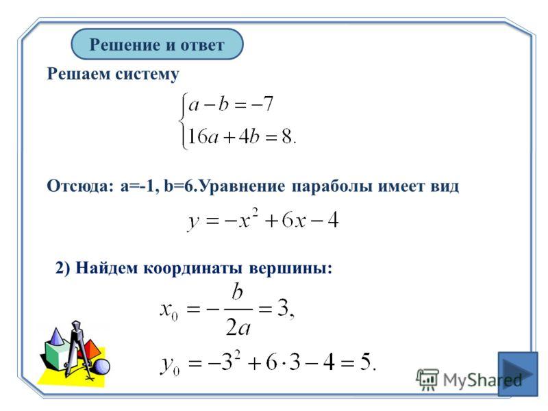 Решаем систему Решение и ответ Отсюда: а=-1, b=6.Уравнение параболы имеет вид 2) Найдем координаты вершины: