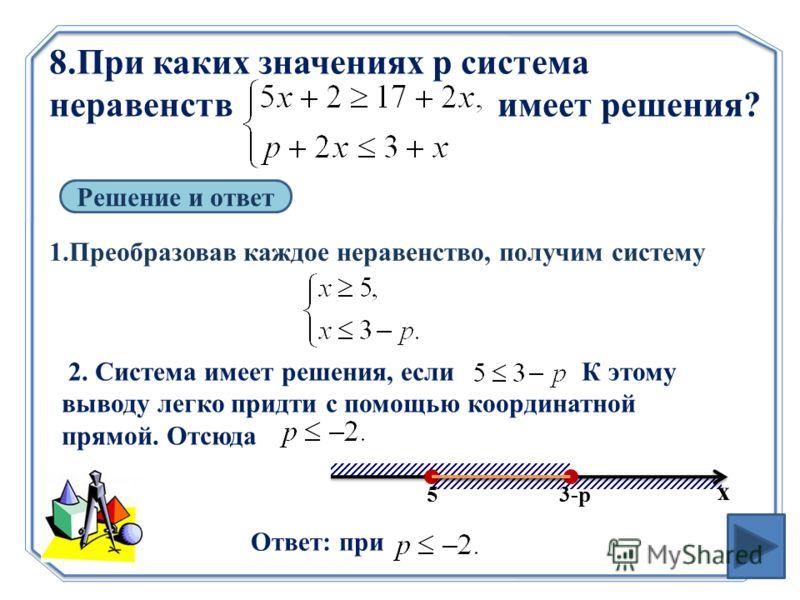 8.При каких значениях p система неравенств имеет решения? Решение и ответ 1.Преобразовав каждое неравенство, получим систему 2. Система имеет решения, если К этому выводу легко придти с помощью координатной прямой. Отсюда Ответ: при х 53-р