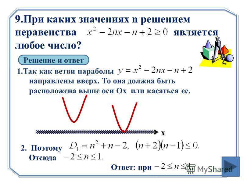 9.При каких значениях n решением неравенства является любое число? Решение и ответ 1.Так как ветви параболы направлены вверх. То она должна быть расположена выше оси Ох или касаться ее. 2. Поэтому Отсюда Ответ: при х
