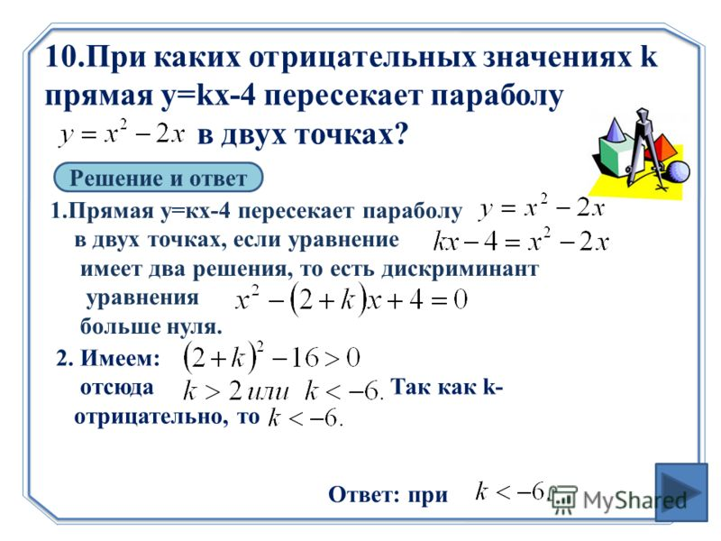 10.При каких отрицательных значениях k прямая y=kx-4 пересекает параболу в двух точках? Решение и ответ 1.Прямая у=кх-4 пересекает параболу в двух точках, если уравнение имеет два решения, то есть дискриминант уравнения больше нуля. 2. Имеем: отсюда