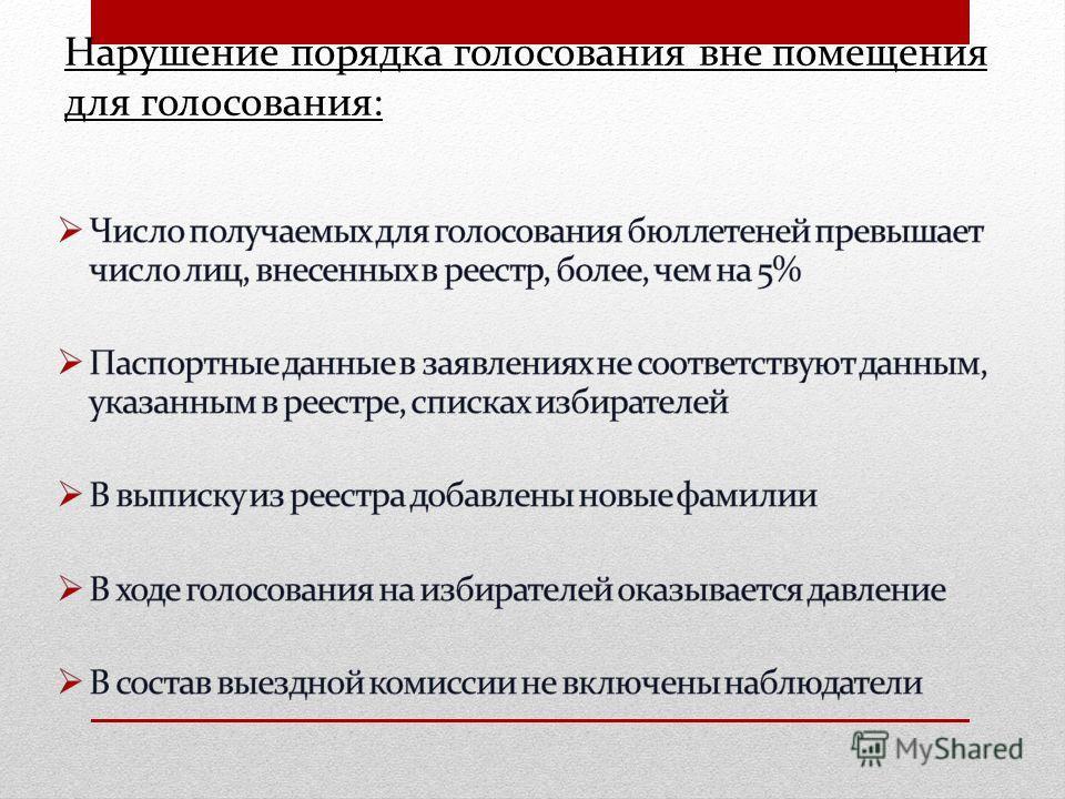 Нарушение порядка голосования вне помещения для голосования :