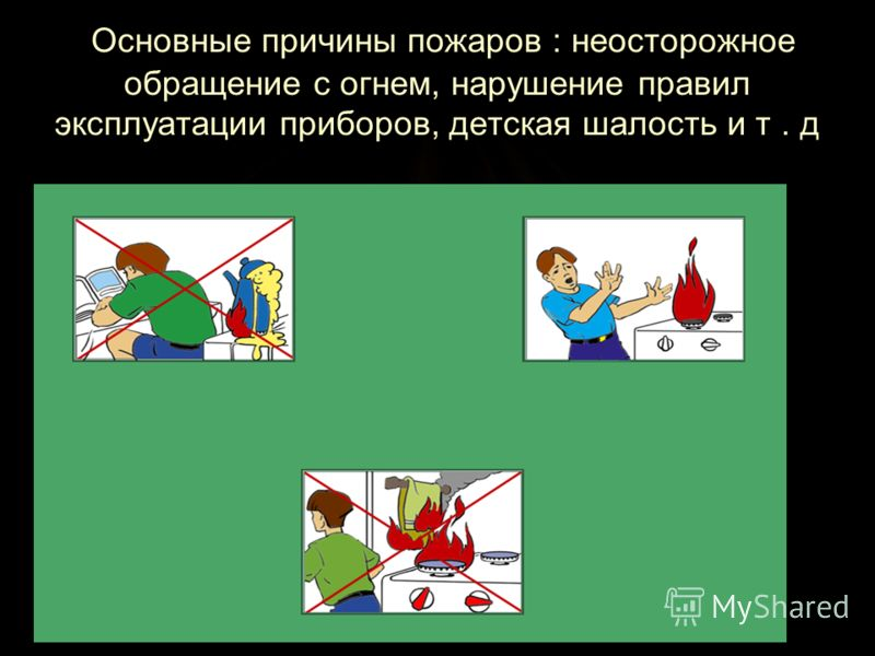 Основные причины пожаров : неосторожное обращение с огнем, нарушение правил эксплуатации приборов, детская шалость и т. д