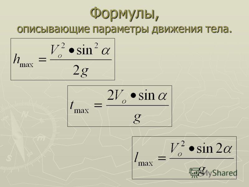 Формулы, описывающие параметры движения тела.