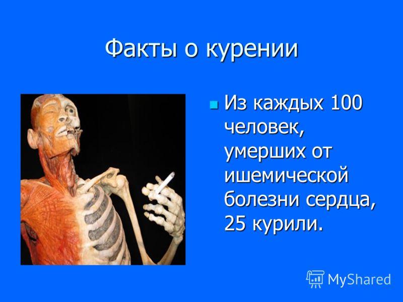 Факты о курении Из каждых 100 человек, умерших от ишемической болезни сердца, 25 курили.